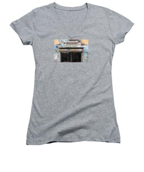 Krishna Time House Women's V-Neck T-Shirt (Junior Cut) by Jennifer Mazzucco
