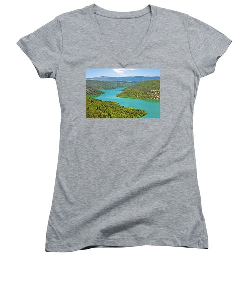 Krka River National Park View Women's V-Neck T-Shirt (Junior Cut) by Brch Photography
