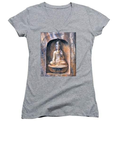 Kuan Yin Meditating Women's V-Neck (Athletic Fit)