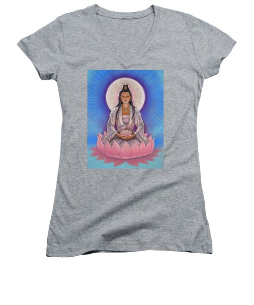 Kuan Yin Women's V-Neck T-Shirt (Junior Cut) by Sue Halstenberg
