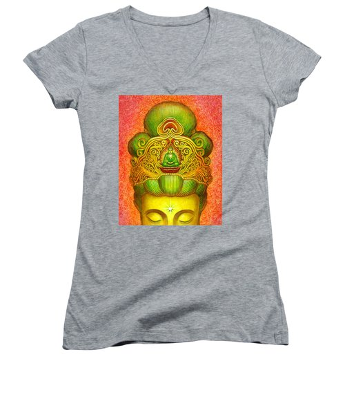 Kuan Yin's Buddha Crown Women's V-Neck T-Shirt (Junior Cut) by Sue Halstenberg