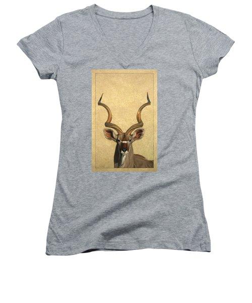 Kudu Women's V-Neck T-Shirt (Junior Cut) by James W Johnson