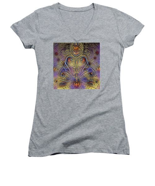 Kundalini  Women's V-Neck T-Shirt (Junior Cut) by Harsh Malik