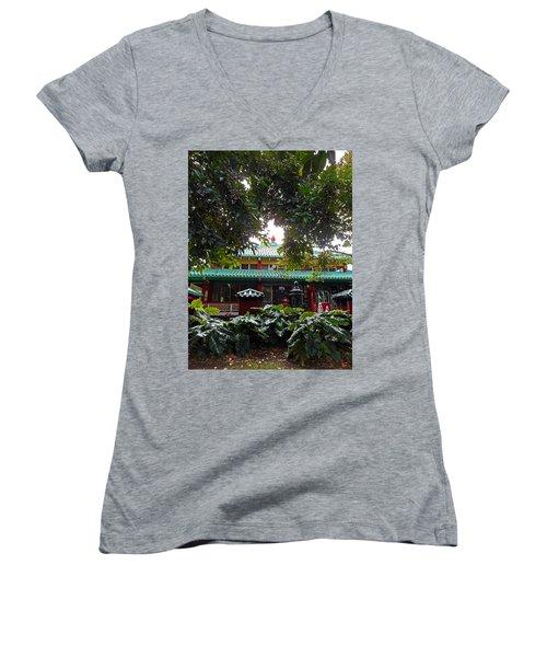 Kwon Yin Temple 4 Women's V-Neck T-Shirt