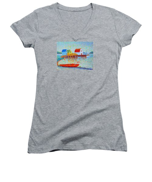 Kyak At Blue Rocks Women's V-Neck T-Shirt (Junior Cut) by Rae  Smith
