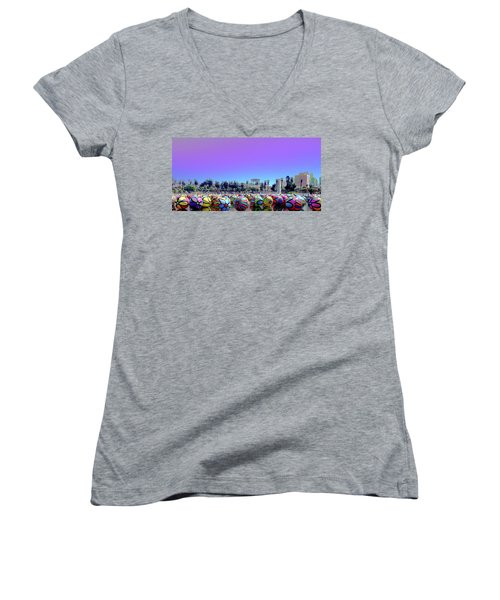 Women's V-Neck featuring the photograph Los Angeles Glows In The Spheres Of Macarthur Park by Lorraine Devon Wilke