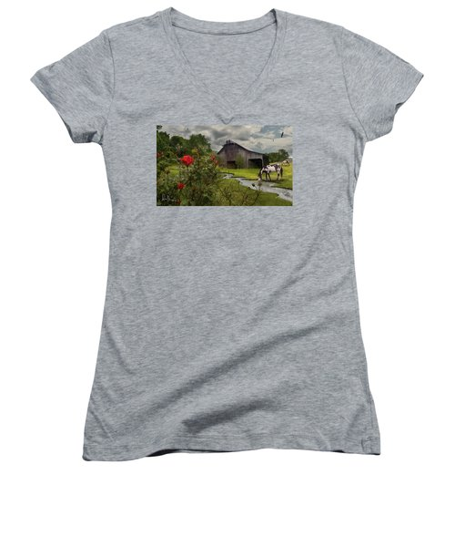 Women's V-Neck T-Shirt (Junior Cut) featuring the photograph La Buena Vida by Don Olea