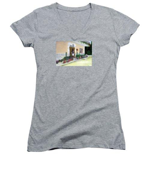 La Casa De Nonna Loreta Women's V-Neck T-Shirt (Junior Cut) by Albert Puskaric