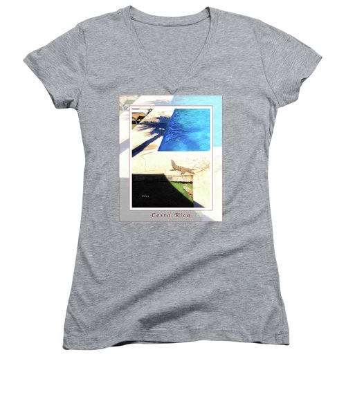 la Casita Playa Hermosa Puntarenas Costa Rica - Iguanas Poolside Greeting Card Poster Women's V-Neck T-Shirt (Junior Cut) by Felipe Adan Lerma