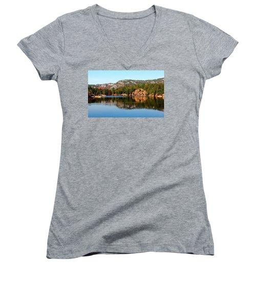 La Cloche Mountain Range Women's V-Neck T-Shirt (Junior Cut) by Debbie Oppermann