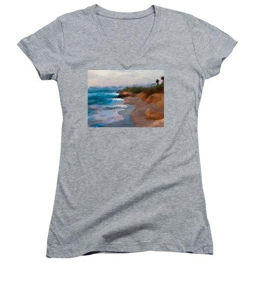 La Jolla California  Women's V-Neck T-Shirt (Junior Cut) by Anthony Fishburne