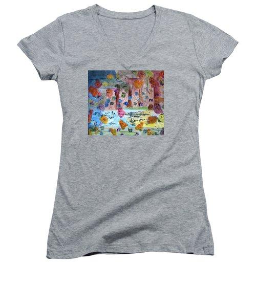 La-la Land Women's V-Neck T-Shirt (Junior Cut) by Sandy McIntire