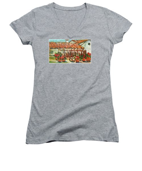 Women's V-Neck T-Shirt (Junior Cut) featuring the painting La Mancha by Mindy Newman