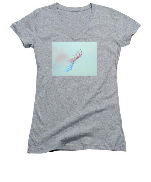 La Patrouille De France Women's V-Neck T-Shirt (Junior Cut) by Betty-Anne McDonald