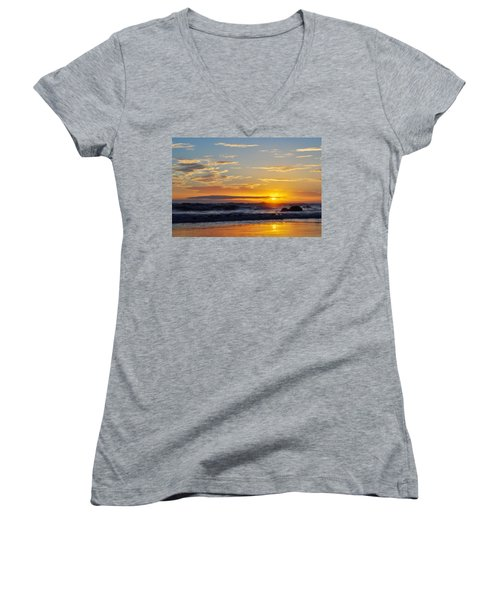 Women's V-Neck T-Shirt (Junior Cut) featuring the photograph La Piedra Sunset Malibu by Kyle Hanson