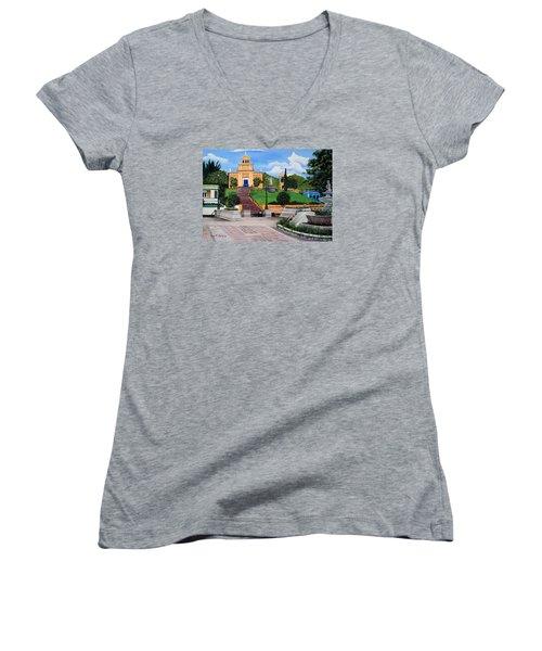 La Plaza De Moca Women's V-Neck T-Shirt (Junior Cut) by Luis F Rodriguez