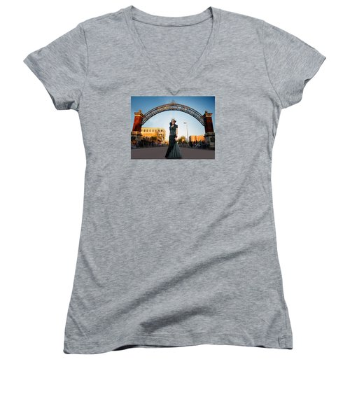 Women's V-Neck T-Shirt (Junior Cut) featuring the photograph La Reina The Queen by Steve Sperry