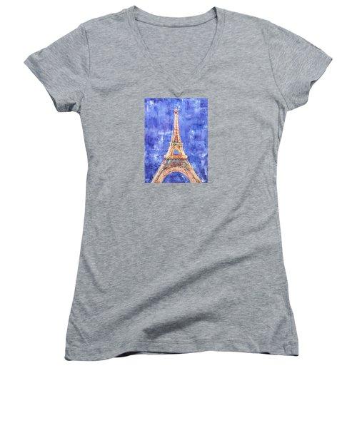 La Tour Eiffel Women's V-Neck T-Shirt (Junior Cut) by Elizabeth Lock