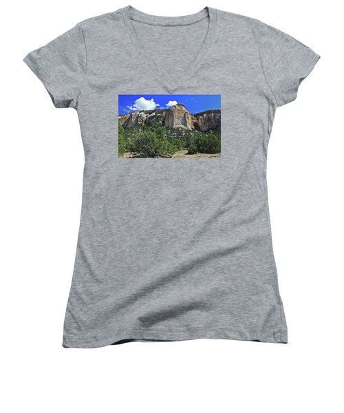 La Ventana Arch Women's V-Neck T-Shirt (Junior Cut) by Gary Kaylor