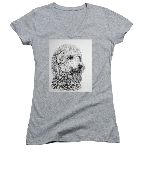Labradoodle Women's V-Neck T-Shirt (Junior Cut) by Terri Mills