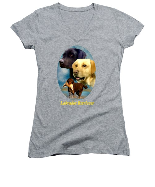 Labrador Retriever With Name Logo Women's V-Neck