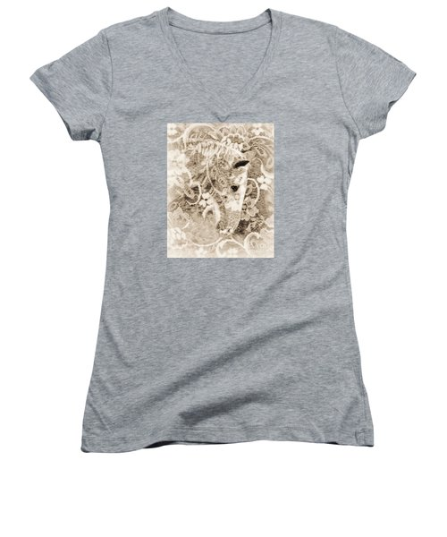 Women's V-Neck T-Shirt (Junior Cut) featuring the photograph Lacey by Lila Fisher-Wenzel