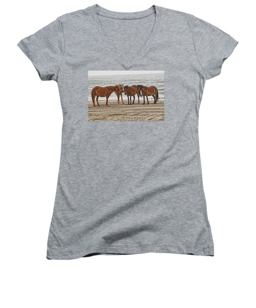 Ladies On The Beach Women's V-Neck T-Shirt