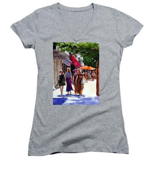 Ladies That Shop Women's V-Neck T-Shirt (Junior Cut) by Ron Stephens