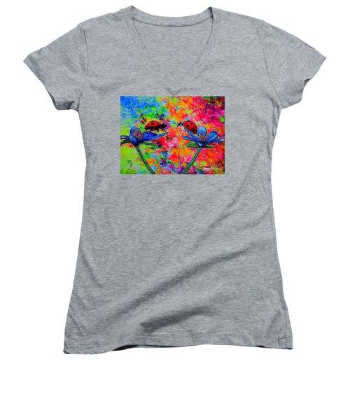 Lady Bugs Women's V-Neck T-Shirt (Junior Cut) by Viktor Lazarev