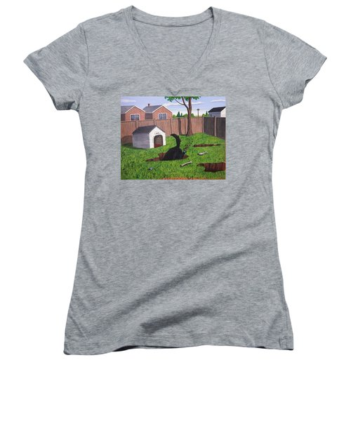 Lady Digs In The Backyard Women's V-Neck (Athletic Fit)