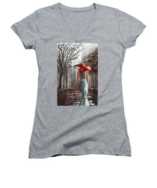 Lady In A Red Hat Women's V-Neck (Athletic Fit)