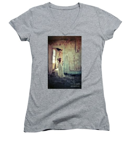 Lady In An Old Abandoned House Women's V-Neck T-Shirt