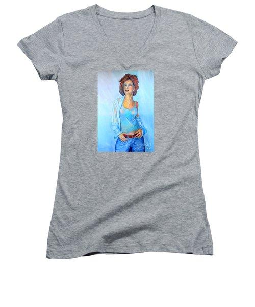 Lady In Blue II Women's V-Neck
