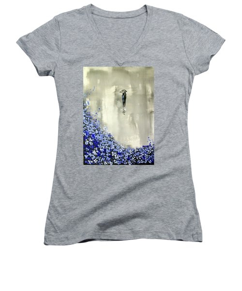 Women's V-Neck T-Shirt (Junior Cut) featuring the painting Lady In Blue by Raymond Doward