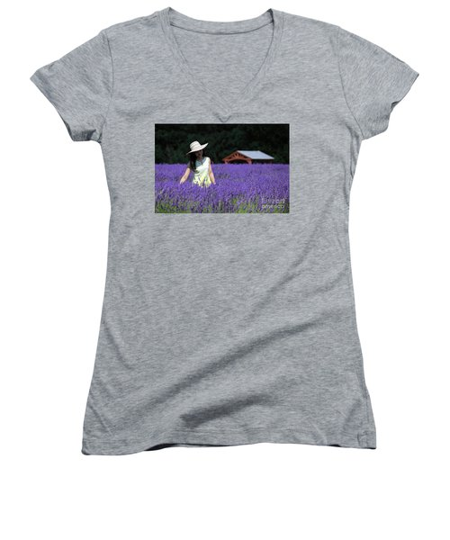 Lady In Lavender Women's V-Neck (Athletic Fit)