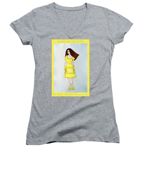 Lady In Yellow Women's V-Neck T-Shirt