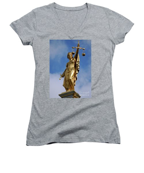 Women's V-Neck T-Shirt (Junior Cut) featuring the photograph Lady Justice In Bruges by RicardMN Photography