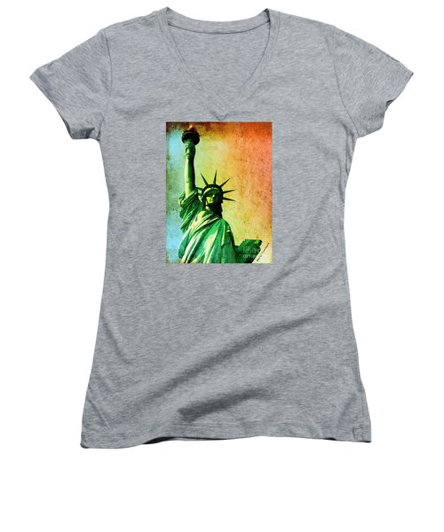 Lady Liberty Women's V-Neck T-Shirt (Junior Cut) by Denise Tomasura