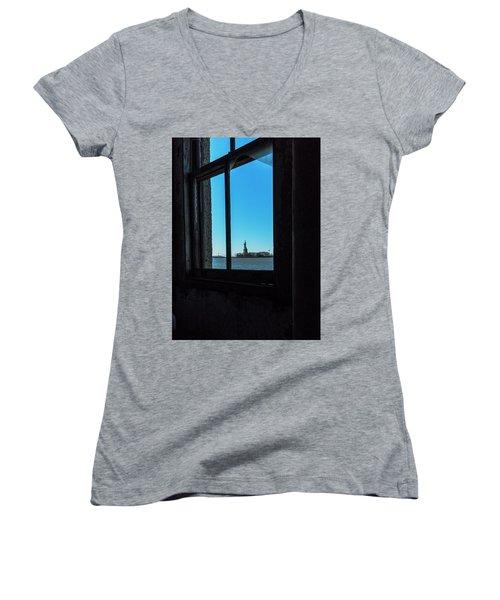 Lady Liberty Women's V-Neck T-Shirt (Junior Cut) by Tom Singleton