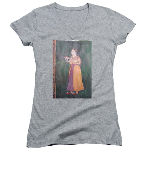 Lady Of The Court Women's V-Neck T-Shirt (Junior Cut) by Vikram Singh