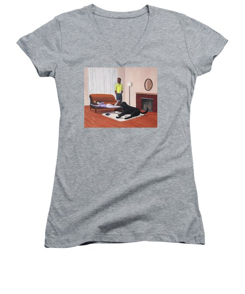 Lady Pulling Mommy Off The Couch Women's V-Neck T-Shirt