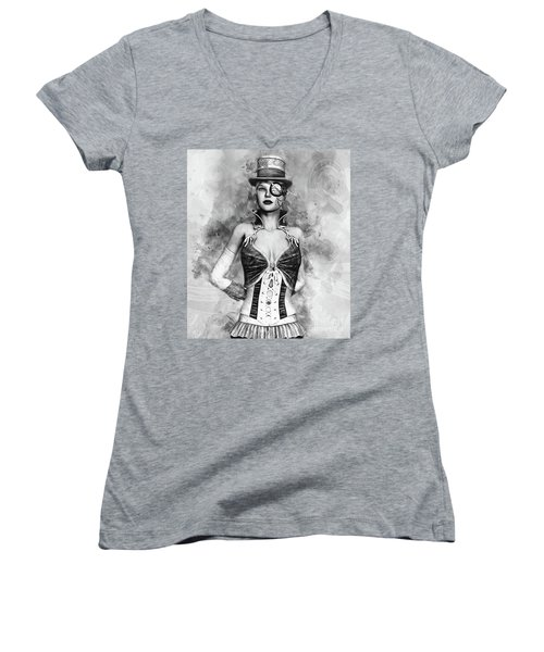 Lady Steampunk Women's V-Neck (Athletic Fit)