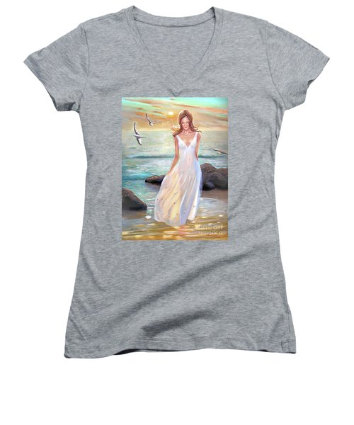Lady Walking On The Beach Women's V-Neck (Athletic Fit)