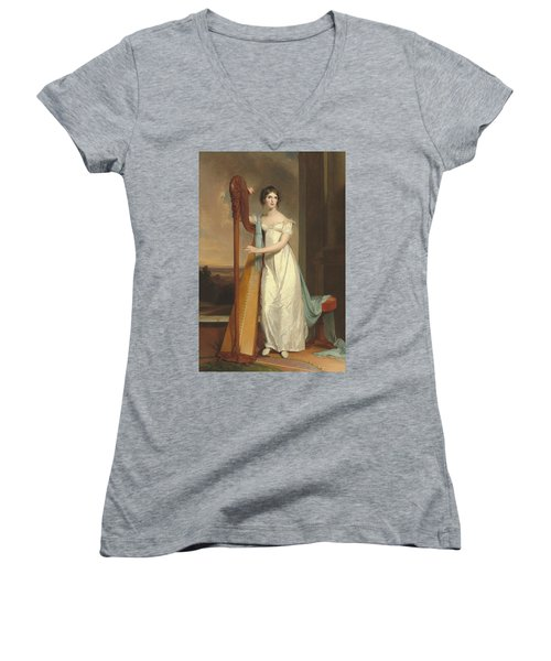 Lady With A Harp Women's V-Neck T-Shirt