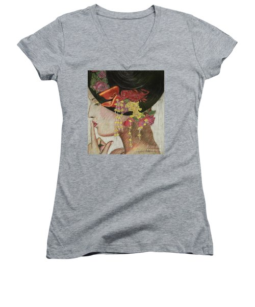Lady With Hat Women's V-Neck