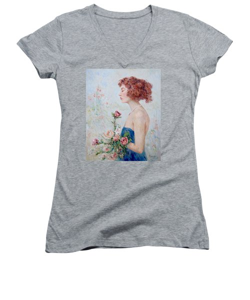 Lady With Roses  Women's V-Neck T-Shirt (Junior Cut) by Pierre Van Dijk