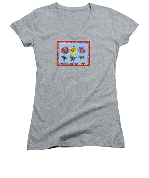Ladybug Trio Women's V-Neck T-Shirt (Junior Cut) by Shelley Wallace Ylst