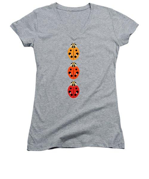 Ladybug Trio Vertical Women's V-Neck