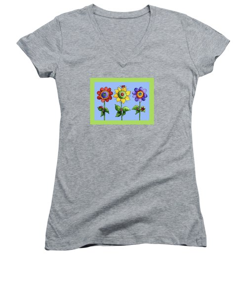 Ladybugs In The Garden Women's V-Neck T-Shirt (Junior Cut) by Shelley Wallace Ylst