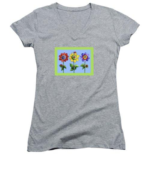 Ladybugs In The Garden Women's V-Neck T-Shirt